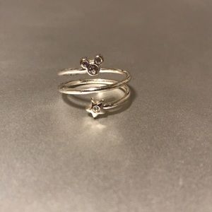 Silver Gemstone Disney Swirl Ring